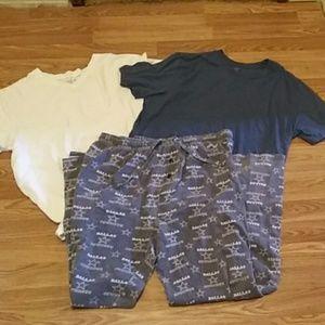 Other - Mens XL Cowboys Pajamas set Bundle Helix tshirt XL